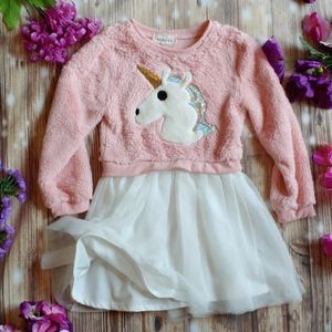 Unicorn Sequin Fuzzy pink dress little girls 6